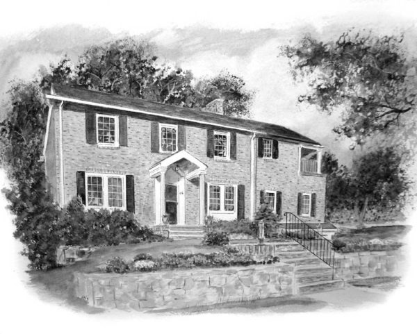 image of a pen and ink wash house portrait