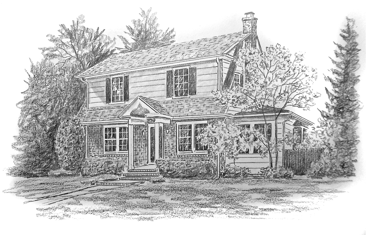 Pencil sketch house portrait