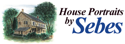 House Portraits by Sebes logo with a water color portrait of an old stone home next to a tree